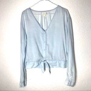 Cloth & Stone Chambray Button Tie Front Top